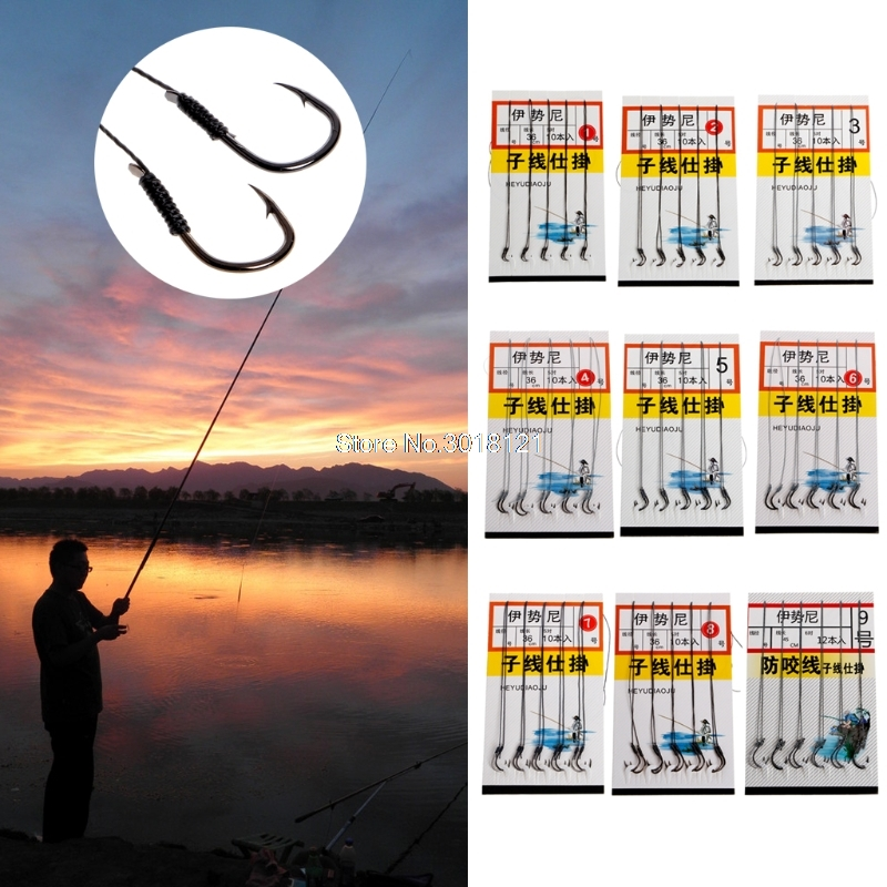 5 Pairs Fishing Tied Double Hooks High Carbon Steel Fishhooks Dyneema String New  ROU