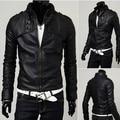 Spring new men's leather short paragraph Slim leather collar leather jacket leather jacket black M