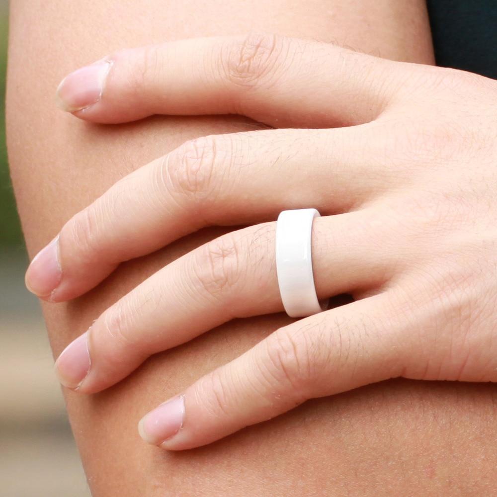 White Ceramic Mens Rings