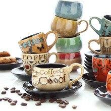 Креативный китайский итальянский эспрессо Кофейная чашка Блюдо Набор креативный ручная роспись маленькая емкость латте кофейная чашка Личность ретро