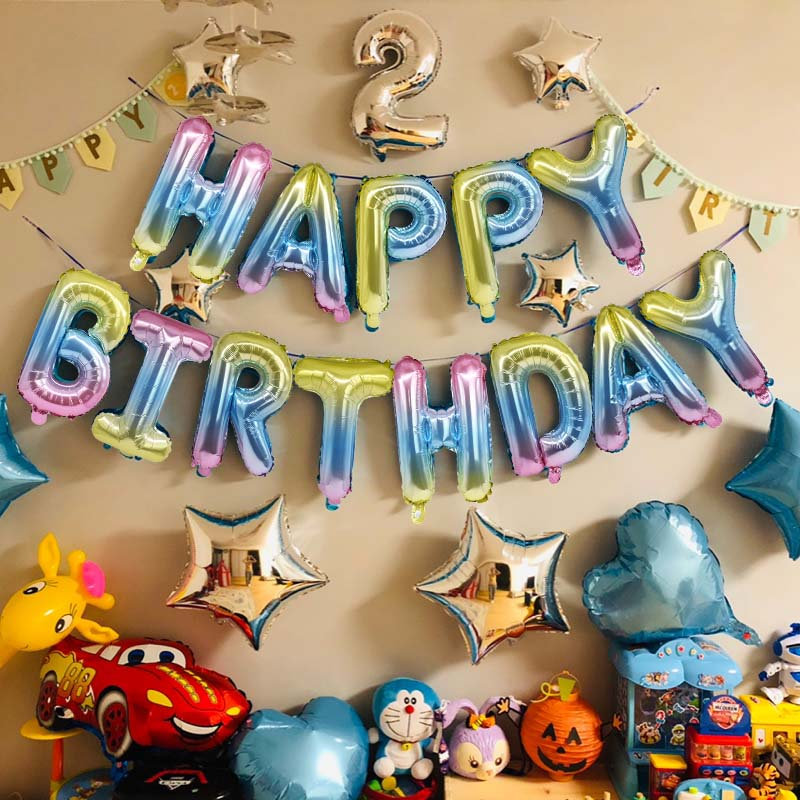 16 Inch Letters Gelukkige Verjaardag Folie Ballonnen Verjaardagsfeestje Gunsten Decoratie Alfabet Air Ballonns