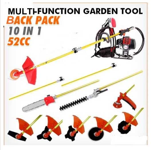 2017 New 10 in 1 Grass cutter with 52cc Engine Multi backpack Brush cutter Tree Pruner