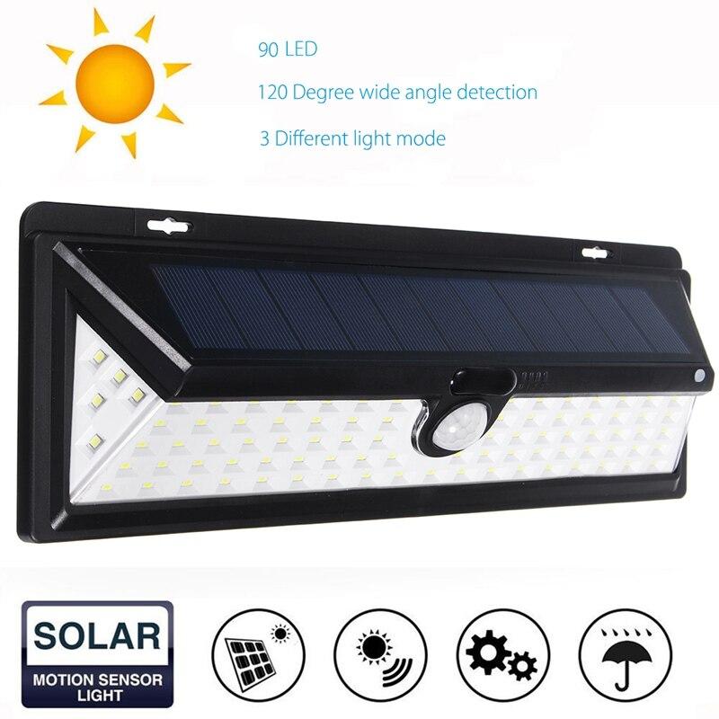 90 LED Solar Licht PIR Bewegungssensor Solar Outdoor LED Garten Licht Sicherheit Notfall Wandleuchte Wasserdicht IP65