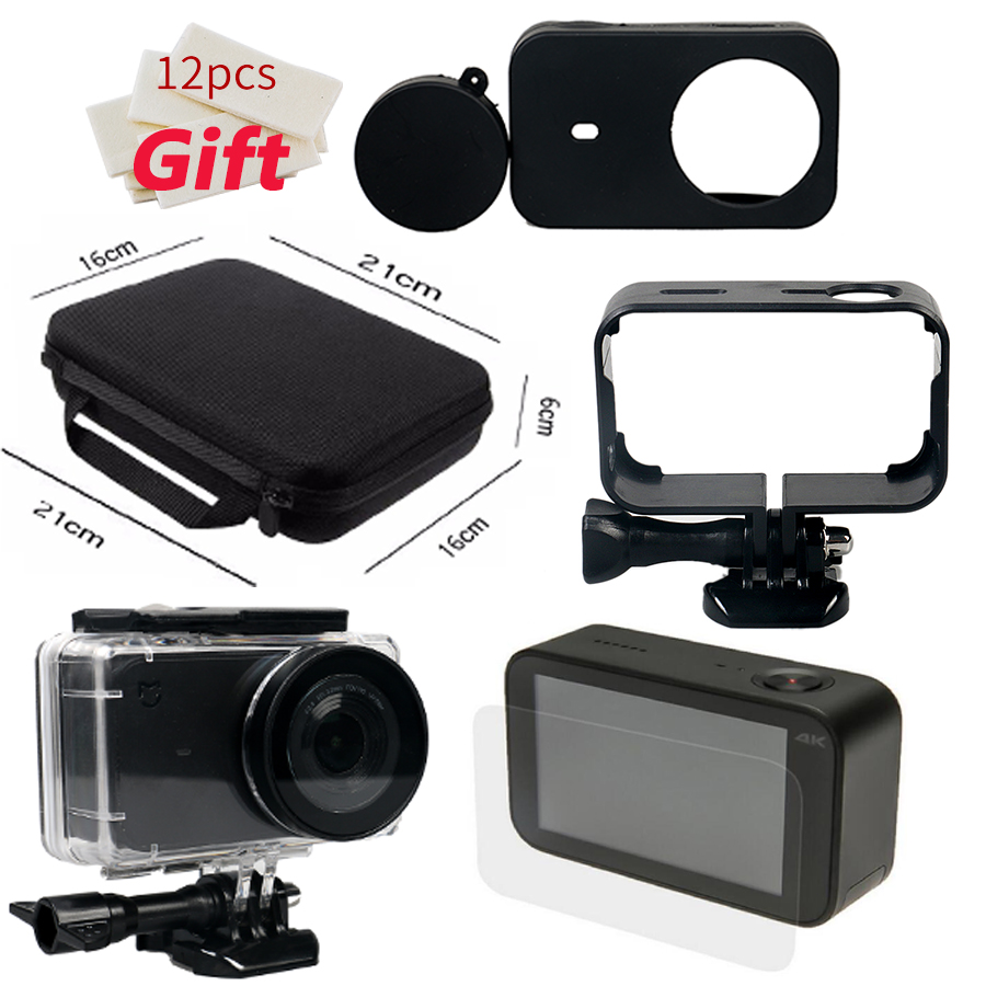 Xiomi Mijia 4k Camera Kit Waterproof Housing Case Storage Bag Frame Tas Sportcam Xiaomi Yi Gopro Hero 3 4 Action Cam For Accessories Shell Skin Lens Cap Protector