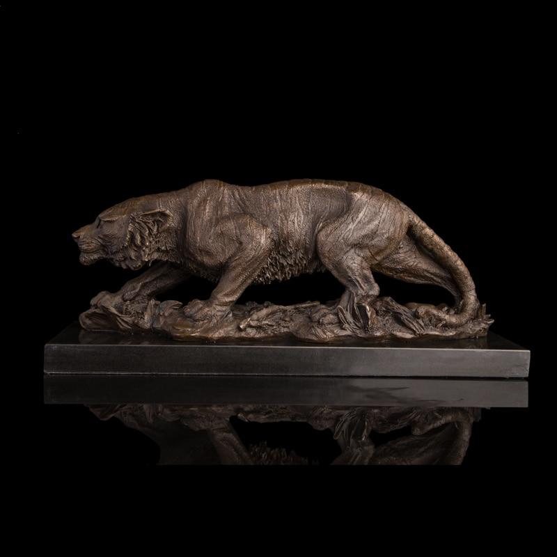 ホット販売ロストワックス研磨青銅タイガース像純粋な手作り空腹タイガーブロンズ彫刻によって