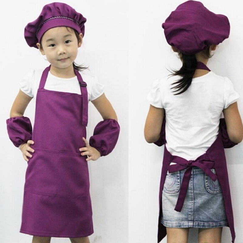 1PC Children Plain Apron Kids Art Bib Kitchen Cooking Baking Painting Cooking Craft Pink Purple Blue 3 Colors NOT Including Cap ...