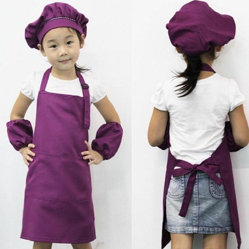 1PC Children Plain Apron Kids Art Bib Kitchen Cooking Baking Painting Cooking Craft Pink Purple Blue 3 Colors NOT Including Cap ...
