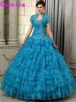 2017 Puffy Ball Gown Prom Quinceanera Dresses Turquoise Long Floor Tiered Organza Girls Sweet 15 Quinceanera Gowns With Jackets