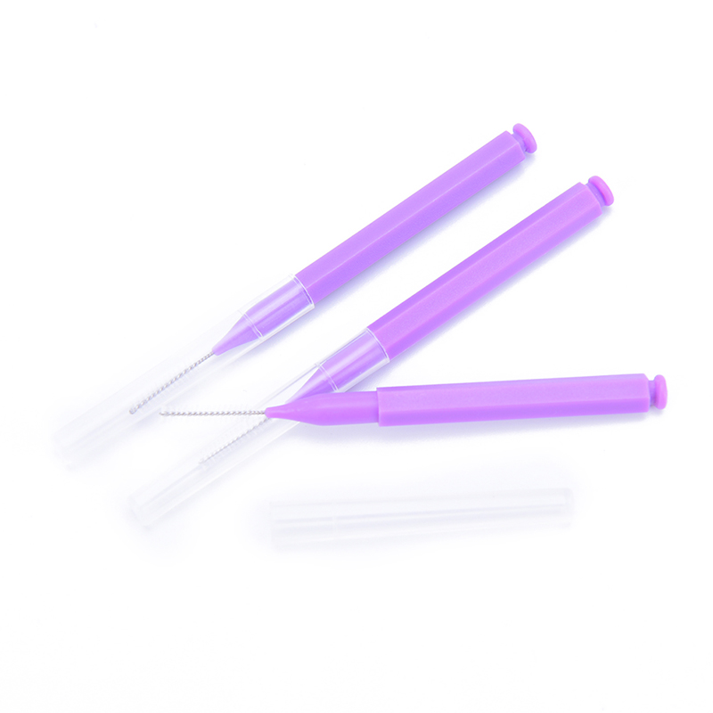 Adults Toothpick Dental Floss 8Pc Push-Pull Interdental Brush Gum Interdental ToothBrush Orthodontic Wire Brush Oral Care Purple