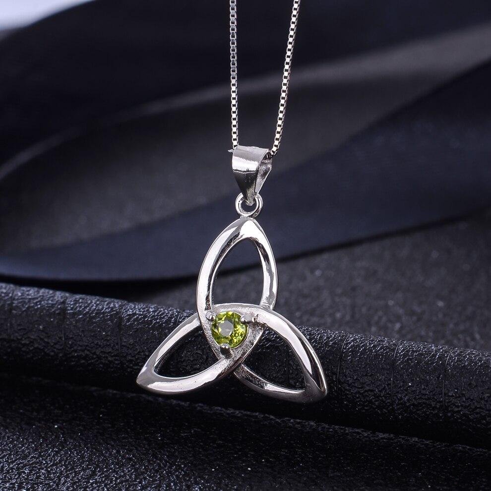 Péridot naturel 925 en argent Sterling pendentif noeud irlandais collier pour les femmes bijoux de pierre de naissance - 3