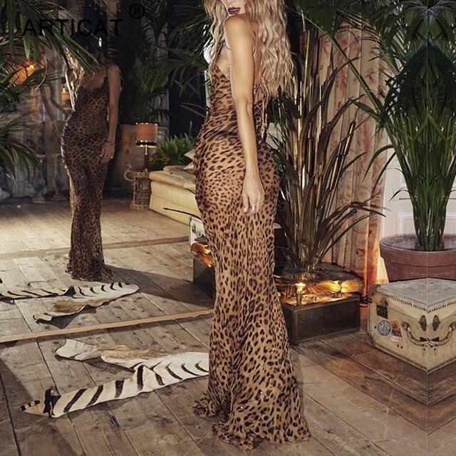 Articat Sexy V Neck Leopard Party Dress Women Spaghetti Strap Backless Slim Maxi Dress Summer Chiffon Long Beach Dress Vestidos 4