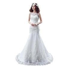 Illusion Scoop Neckline Lace Mermaid Wedding Dresses 2016 Vestido De Novia Court Train Sexy Backless Bride Gowns robe de mariee