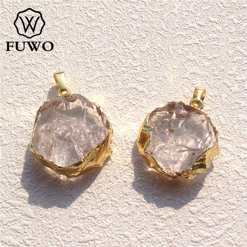 FUWO Natural Crystal Quartz Slice Pendant 24K Electroplated High Quality Round Clear Crystal Healing stone Jewelry PD061 ...