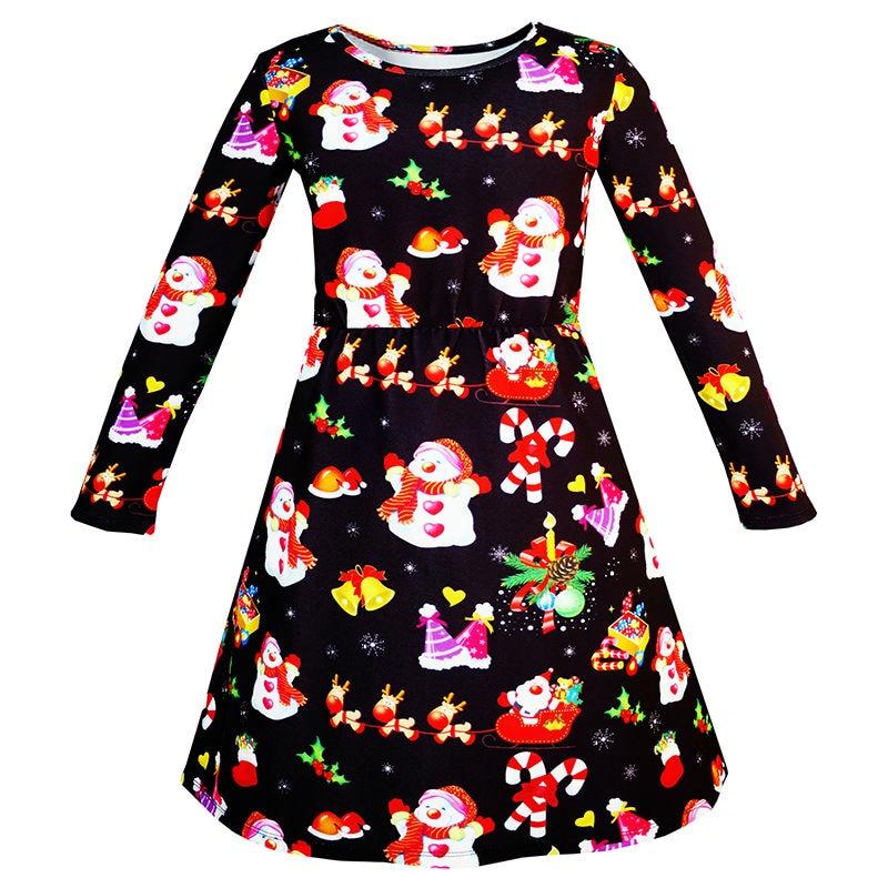 Sunny Fashion Girls Dress Christmas Santa Xmas Tree Jingle Bell 2017 Summer Princess Wedding Party Dresses Clothes Size 3-12 sunny fashion girls dress long sleeve crown ribbon birthday princess pink dress 2017 summer wedding party dresses size 4 8