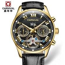 Carnaval tourbillon mecánicos automáticos calientes marca de relojes militares hombres de los deportes cuero genuino impermeable de lujo del reloj relogio