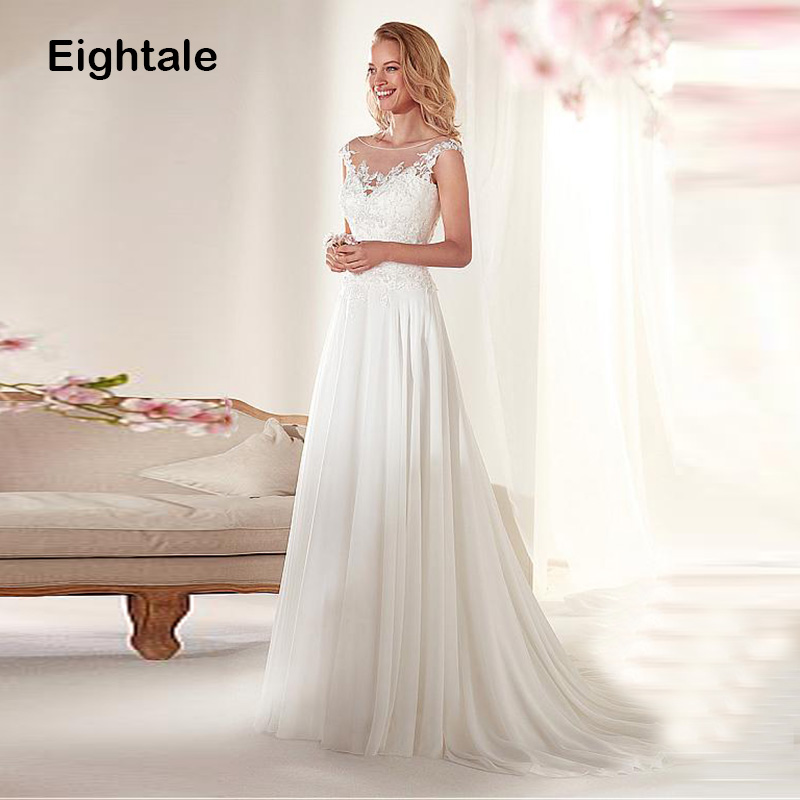 Eightale Wedding Dresses 2019 Scoop Appliques Lace Top Princess Backless Romatic Bride Dress Boho Wedding Gowns Free Shipping