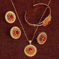 Bangrui Newest Big Size 3cm Gold Color Ethiopian Habesha African Bridal Jewelry Sets For Women