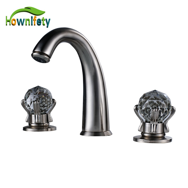 Brushed Nickel Widespread Basin Sink Mixer Tap Dual Handles Cold Hot Water Bathroom Washing Faucet
