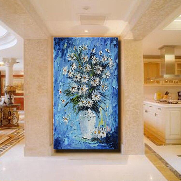 Blau Vase Blume Leinwand Wandkunst Textur Spachtel Moderne Abstrakte ...