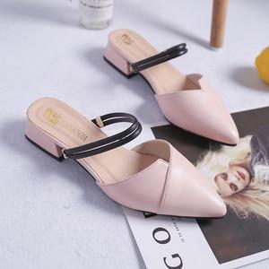 Image 3 - Party Chicผู้หญิงMulesรองเท้าแตะPointed Toe Blockสายคล้องปิดตื้นรองเท้าส้นสูงรองเท้าแตะสีดำBeigeส้นปั๊มส้น