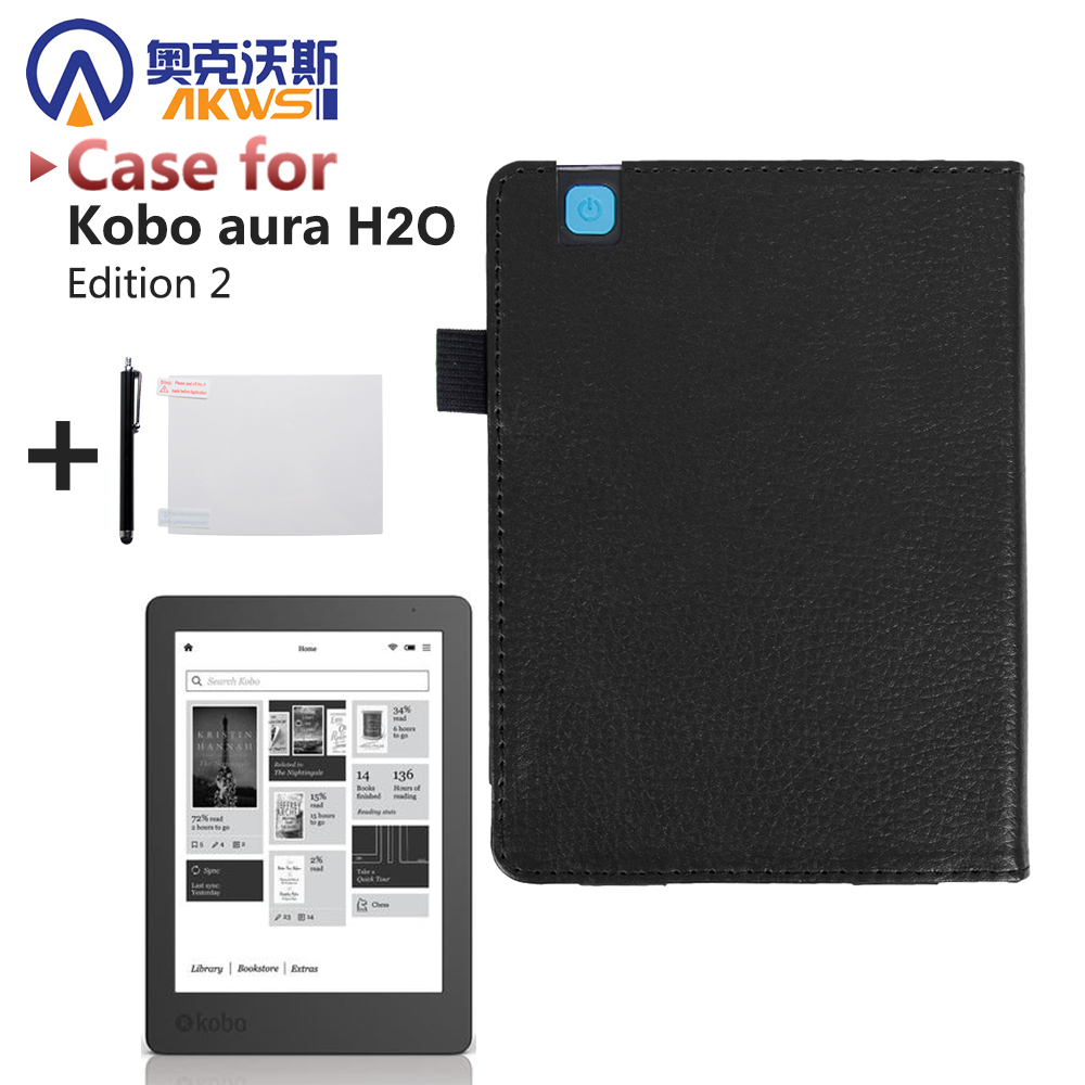 Folio pu leather cover case for 2017 new release kobo aura for Housse kobo aura h2o edition 2