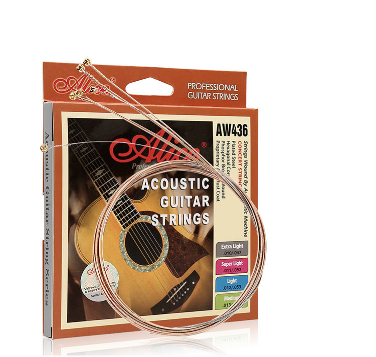 Alice AW436 Hexagonal Core Phosphor Bronze Acoustic Guitar Strings 013-056, Single String Also Available