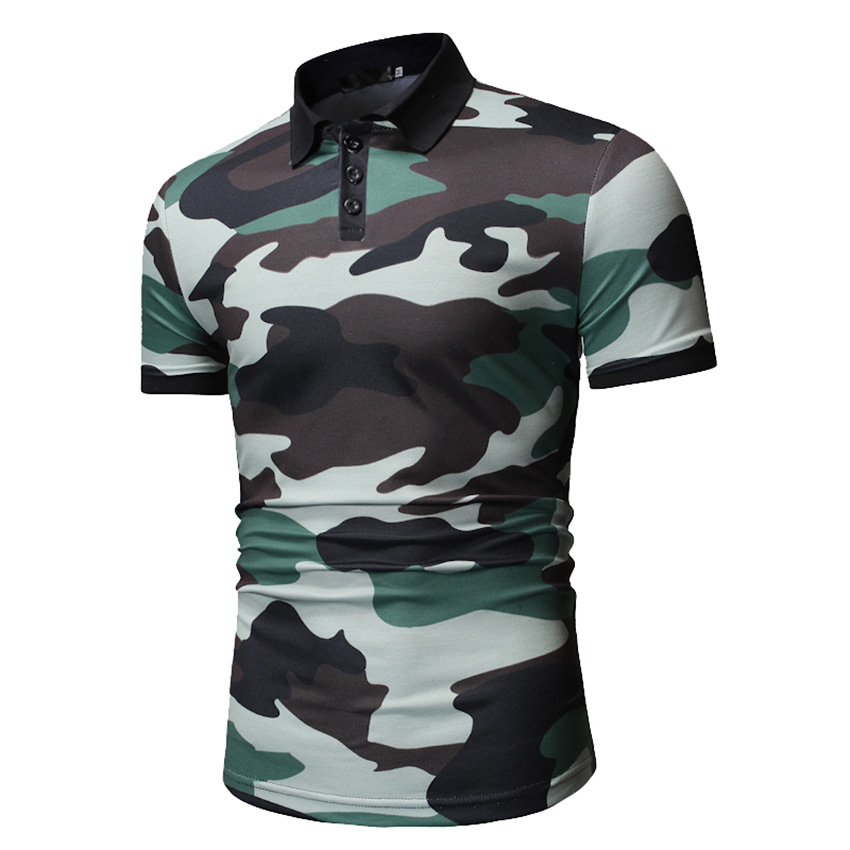 HCXY Brand Clothing 2019 Summer New Fashion Men's Camouflage   Polo   Shirt Men   polo   shits Male   Polos   Casual Army green Blue