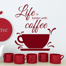 Quotes Wall Decals Life Is Better With Coffee Kitchen House Decor Sticker Cup Vinyl Lettering NY-369