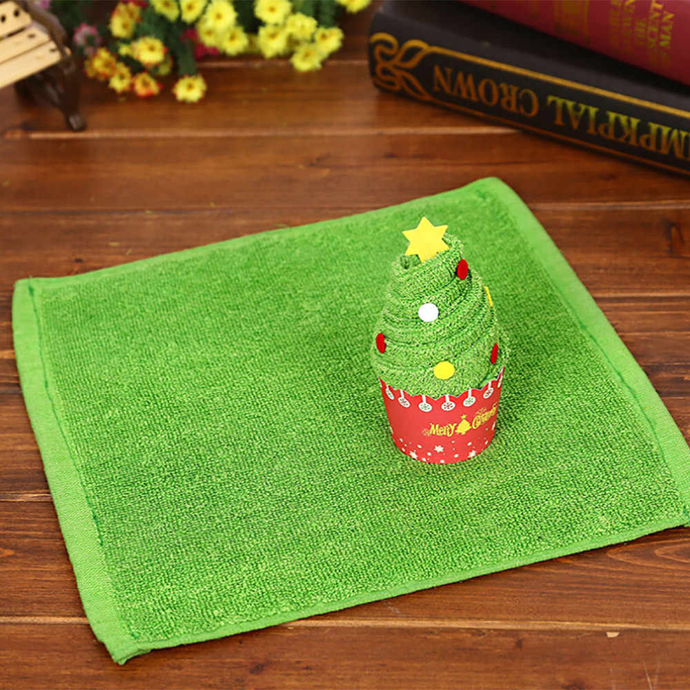 Towel High Quality 2018 Modern Santa Claus Snowman Christmas Tree Cake Modelling Cotton Towel Creative Gifts     July12