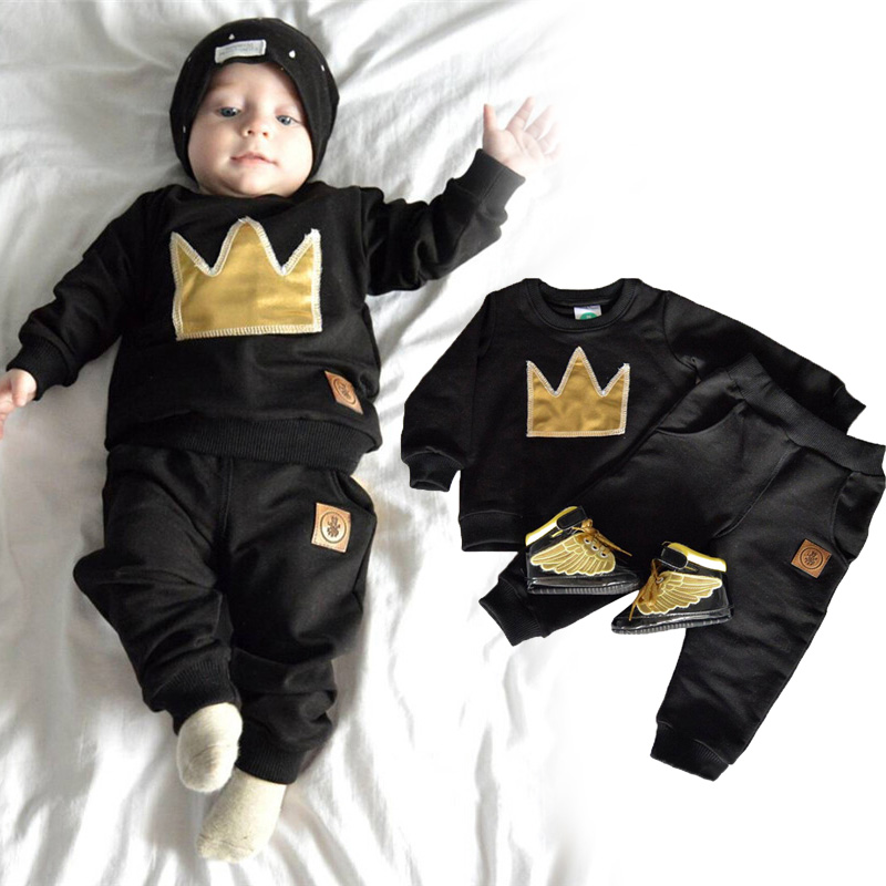 2 Pcs/Set Fashion Baby Boys Long Sleeve Tops + Pants Crown Pattern Printed Pocket Autumn Winter Newborn Baby Clothes @ZJF
