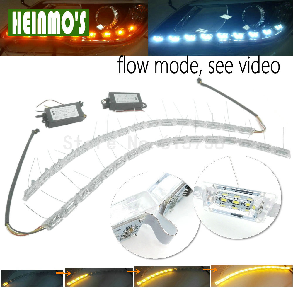 NEW Crystal Flowing vinstar led DRL day light high power flexible led daytime running light turn light white/amber strechable люстра накладная 06 2484 0333 24 gold amber and white crystal n light
