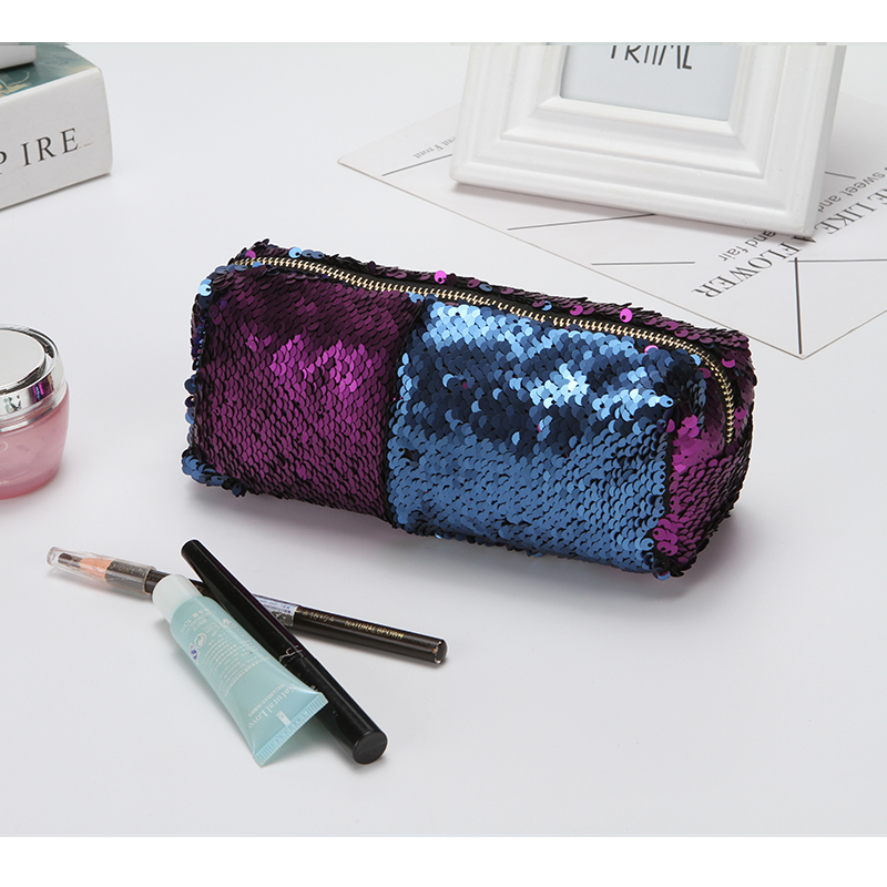 Mermaid Scales Double Color Sequins Zippered Cosmetic Bag