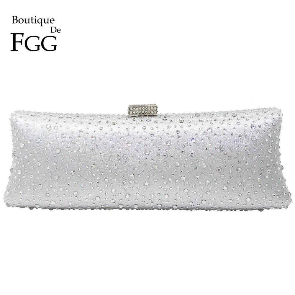 Boutique De Fgg Silver Rhinestone Handbag Women Evening Purse Crystal Clutch Bridal Wedding Party Hand Bag In Top Handle Bags From Luggage On