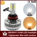 Guang Dian Farol Cabeça Da lâmpada do Bulbo do diodo emissor de luz do carro Auto CARRO COB A340 LEVOU Farol h8/h9/h11 9 v-16 v 40 W 3600LM 3000 K 6000 K