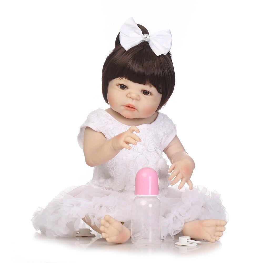 "Здесь продается  NPKCOLLECTION 22"" lovely Full silicone simulation newborn baby girl bebe boneca best child festival gifts silicone reborn dolls  Игрушки и Хобби"
