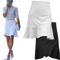Women Skirt 2017 Summer Spring White Slimming Fish Tail Skirts Female Ruffles High Waist Elegant Vintage