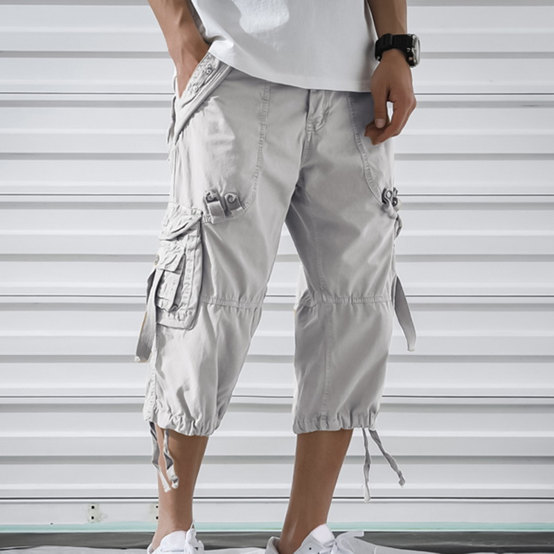 Oeak Men Fashion Summer Solid Coloe Straight Cargo Pants New Loose Slim Fit Multi-Pocket Outdoor Casual Gym Fitness Sports Pants