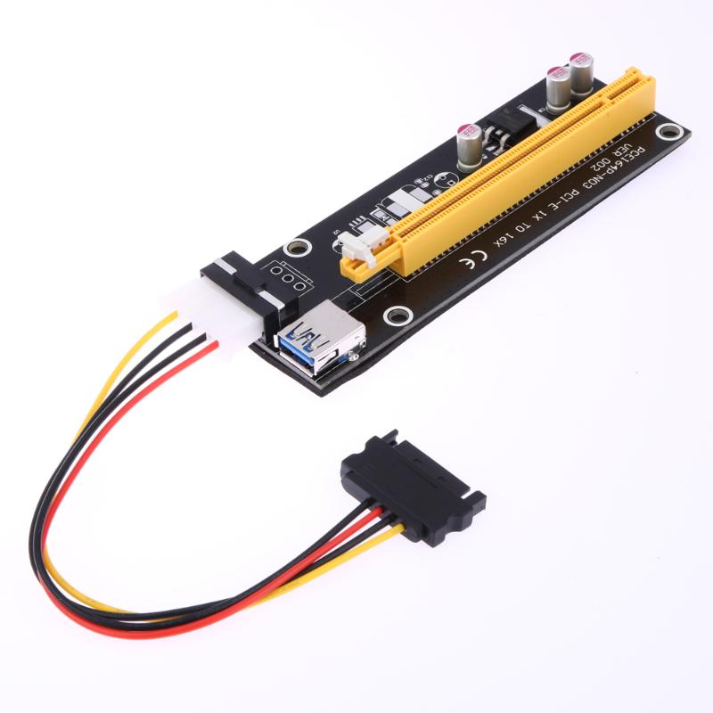 ALLOYSEED Pcie PCI-E PCI Express Riser Card 1x to 16x USB 3.0 Data Cable SATA to 4Pin IDE Molex Power for antminer bitcoin miner