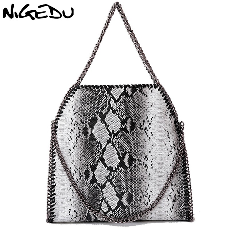 NIGEDU Fashion serpentine Women handbags Large Weave Chain Women's Shoulder Bags brand design PU Leather female Totes Bolsa цена и фото