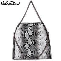 NIGEDU Moda serpentina bolsas Femininas Grande Tecer Cadeia Sacos de Ombro das Mulheres de design da marca PU Bolsas femininas de Couro Bolsa