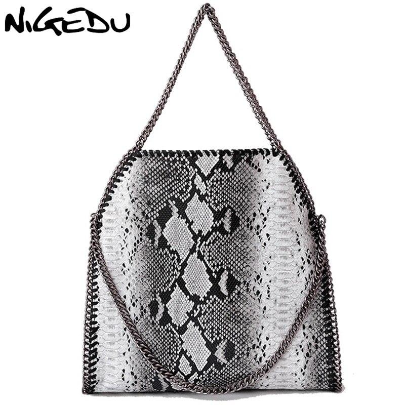 Nigedu моды серпантин Для женщин сумки большой плетение цепочки Для женщин сумки на плечо Марка Дизайн PU кожаная женская сумка