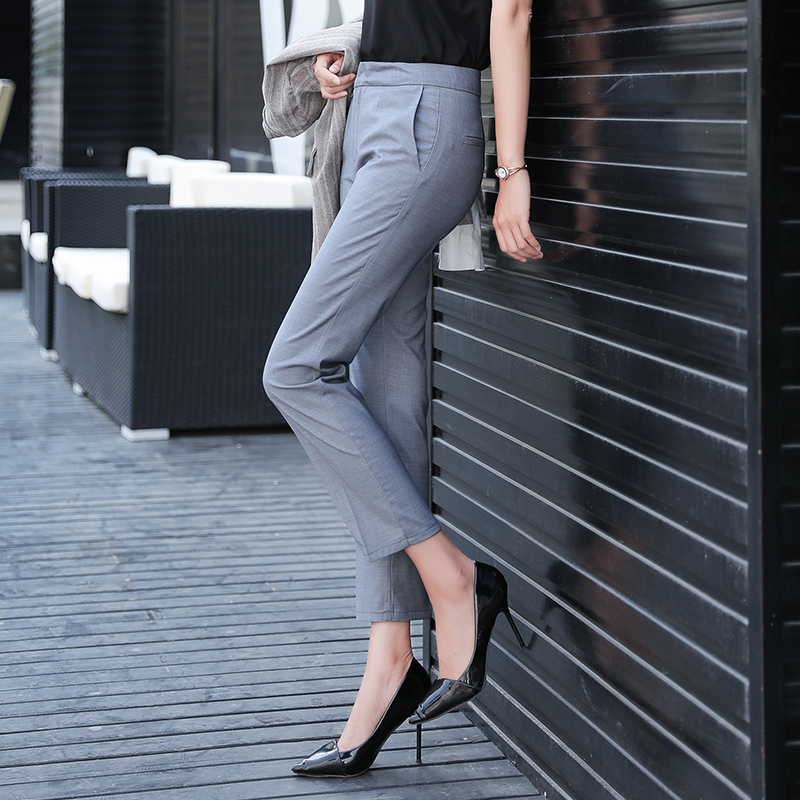 Solid Casual Pencil Pants Women High Waist Suit Pant Pockets Work Business Trouser Female Bottom 2018 Pantalon