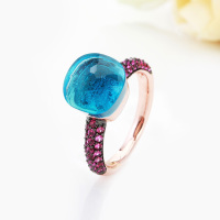 Fashion Jewelry Rose Gold With Black Plated Pink Zircon Ring For Women Gift 14 Colors
