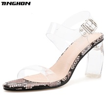 TINGHON Rome Transparent High Heel Sandals Women Summer Ladies Serpentine Sexy Open Toe Stiletto Square Heel Round Toe Shoes great mixed color multi band sandals stiletto heel high quality sexy open toe shoes summer hot selling high heel sandals on sale
