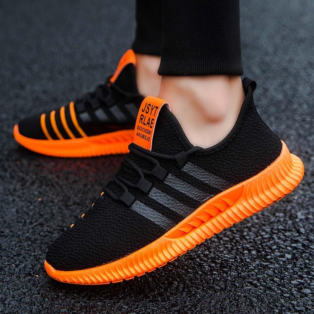 Fashion Men Black Orange Sneakers