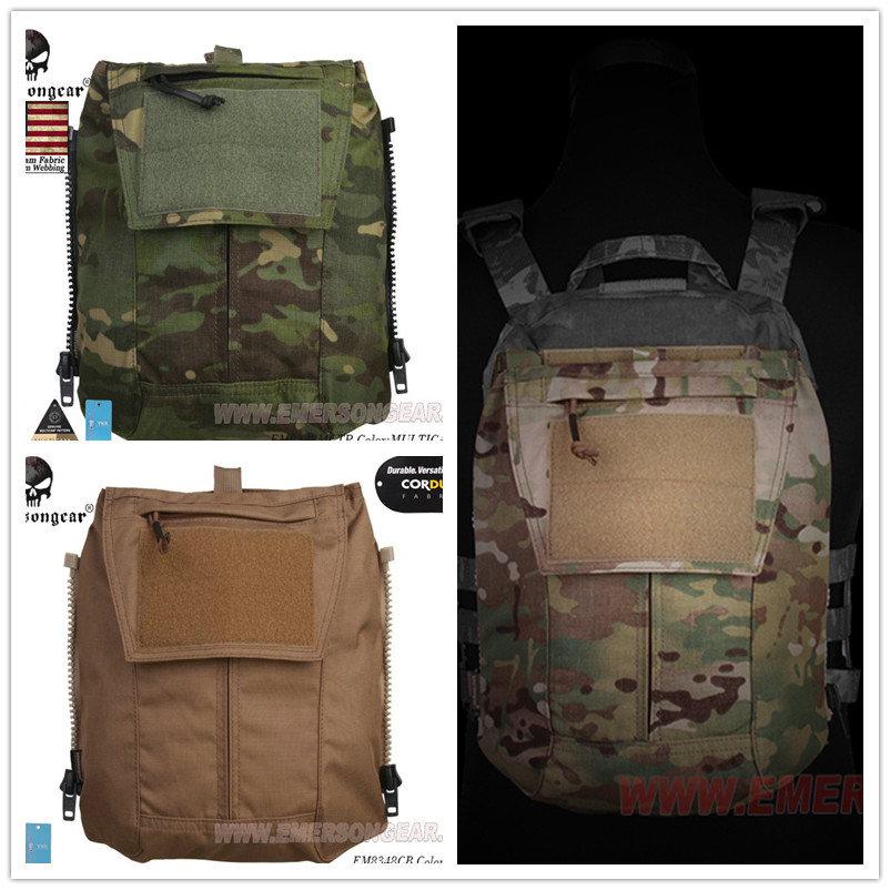 Emerson Tactical Zip On Back Panel Pack Cordura AVS CPC JPC2.0 Panel Pouch Bag MCBK MC MCTP MCAD CB FG