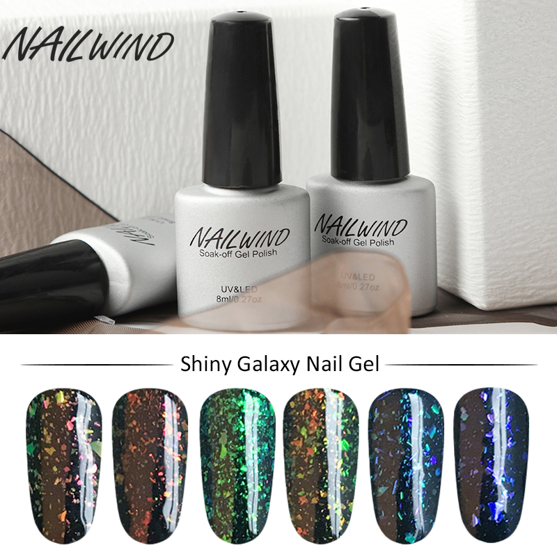 Gelaxy Gel Nail Polish: NAILWIND Primer Shiny Galaxy Nail Polish Colorful Glitter