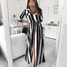 Women Maxi Dress Striped Retro Long Shirt Dresses Party Female Elegant Vestido