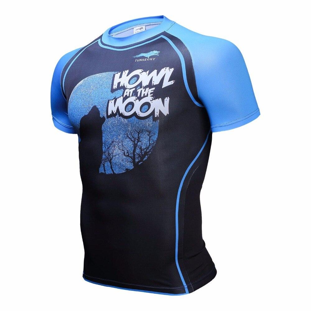 Mens Compression Shirts Bodybuilding Skin Tight Short Sleeve Jerseys Rashguard TUNSECHY Crossfit font b Weight b