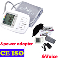 Arm Automatic Blood Pressure Monitor Electronic Sphygmomanometer LCD Display 90 Memories with Power Adapter with Voice Function